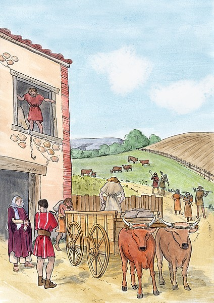 Artist's reconstruction of agricultural scene within the countryside of Roman Britain (by Margaret Mathews)