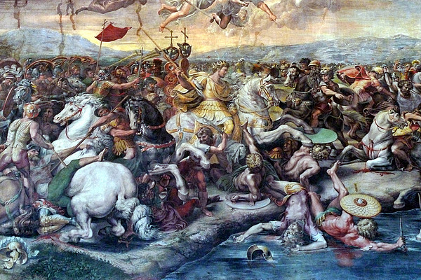 Fresco of the Battle of the Milvian Bridge by Giulio Romano, Raphael Rooms, Vatican